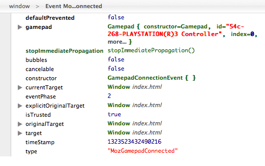 The logged event of connecting a gamepad