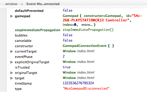 The logged event of disconnecting a gamepad