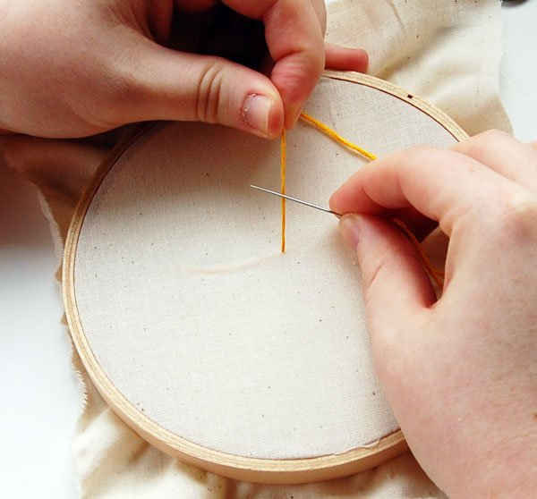 Needle in front of thread