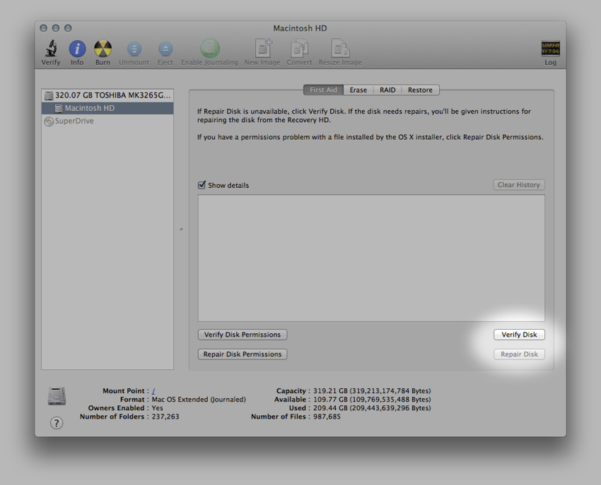 The Disk Verification Tools inside Disk Utility