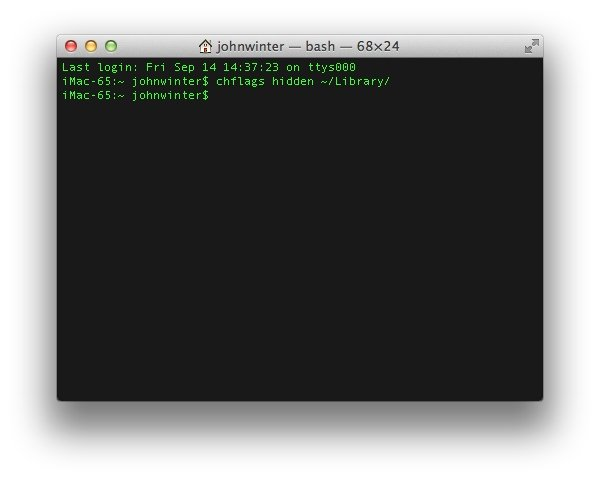Using Terminal App to Hide the Library Folder