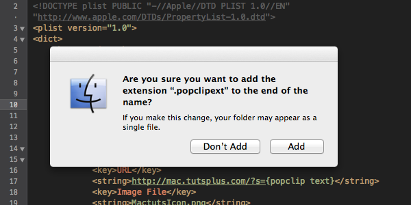 You'll be asked if you're sure you want to add a file extension to the duplicated folder