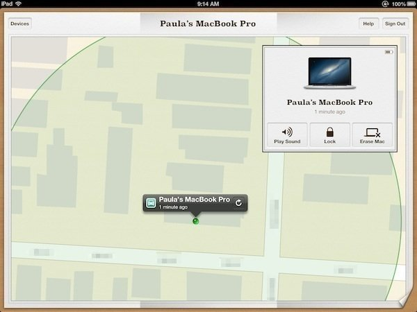 My Mac is displayed on a zoomed in map.