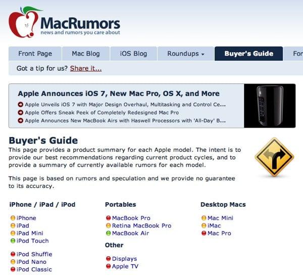 The MacRumors Buyers' Guide.