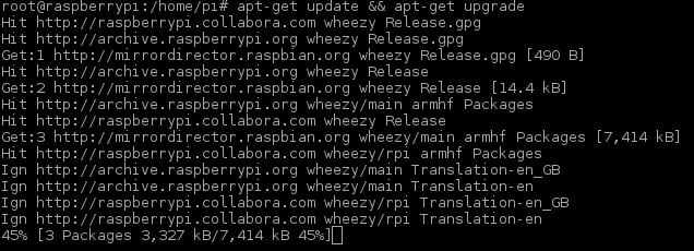 Updating the software of our Raspberry Pi can take a little time and you'll probably see lots of lines of information appear on the display.