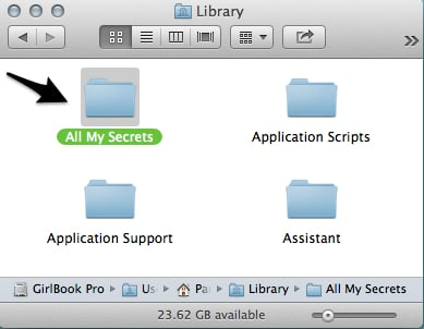 The Library folder is a good place to stick some hard to find files.