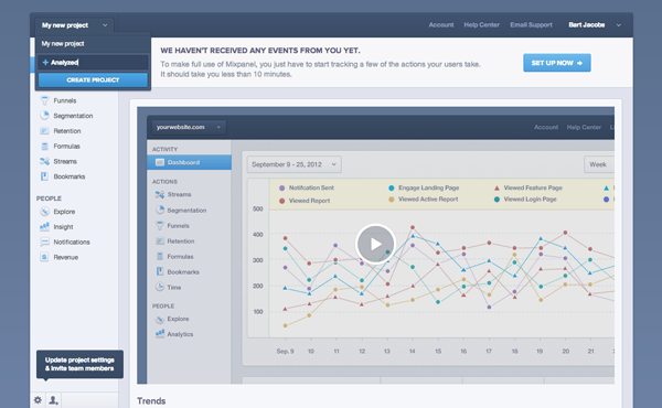 Mobile Analytics with Mixpanel: Creating a New Project - Figure 7