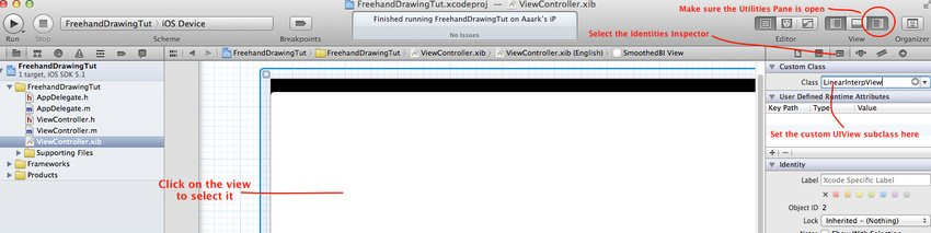 Changing the view controller's view's class to our custom UIView subclass