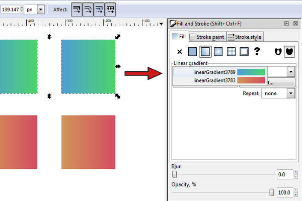inkscape gradient list