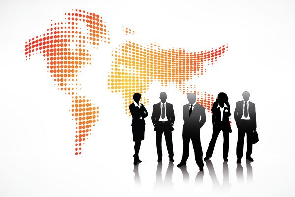 vector people silhouette over world