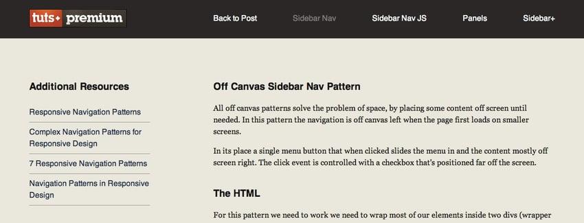 The menu visible as a horizontal navigation bar on larger screens