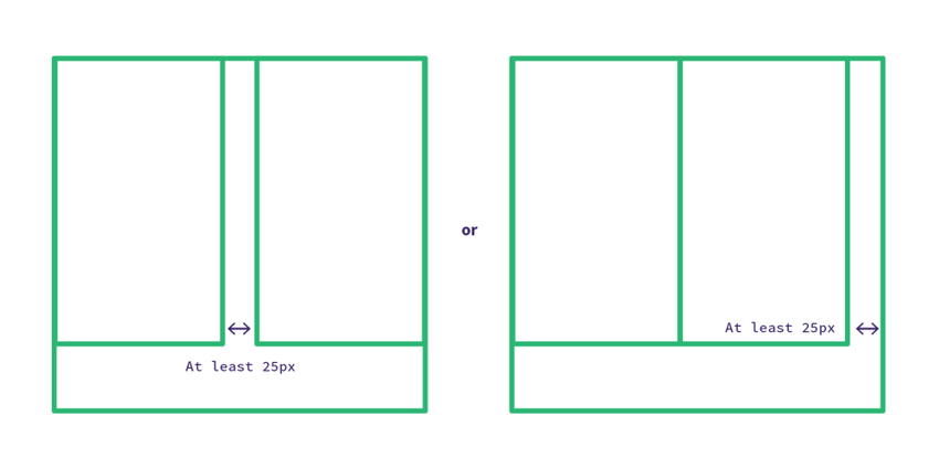 Allow at least 25px of breathing room to stop Outlook from stacking your tables