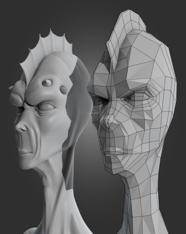 Character Head Modeling In Blender : Re topologize a game ready alien head in blender