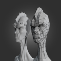 Preview for Re-Topologize a Game-Ready Alien Head in Blender