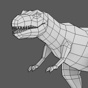 Modeling uvmapping and texturing a low poly t rex in Simple 3d modeling online