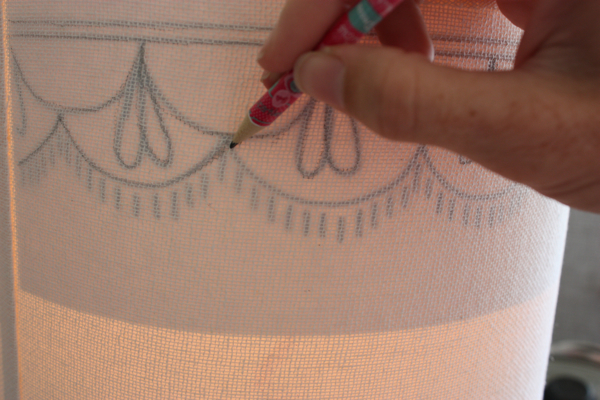 Give a boring lampshade a brand new look turn the lamp on so the pattern shows through to the outside use a pencil to lightly trace over it onto the shade this will be covered with the embroidery aloadofball Images