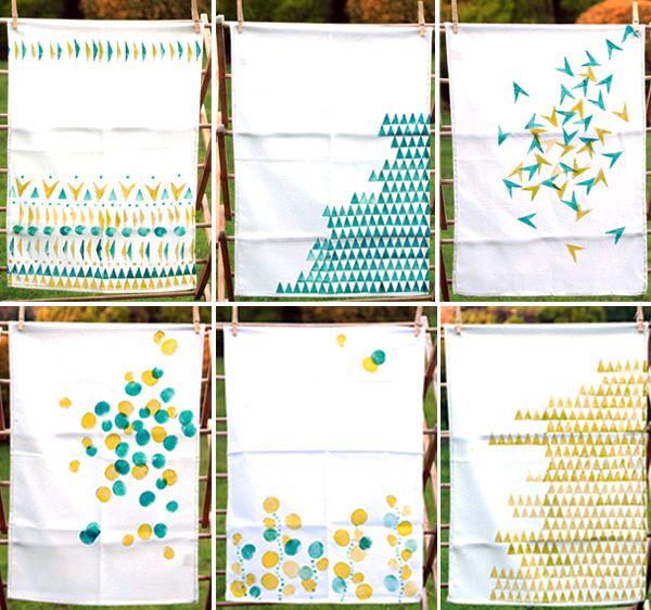 make your own gorgeous geo hand printed tea towels