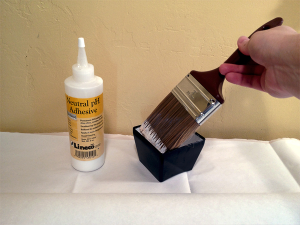 Dip brush in the glue