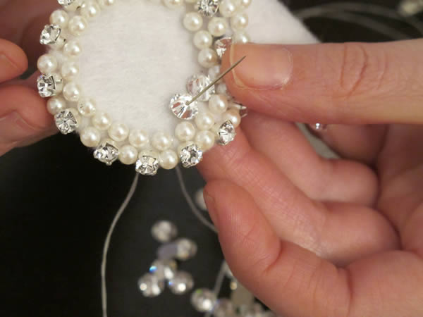Create your own stunning crystallized bridal sash now poke your needle into the left side of the felt next to the crystal you have secured both sides of the crystal solutioingenieria Choice Image