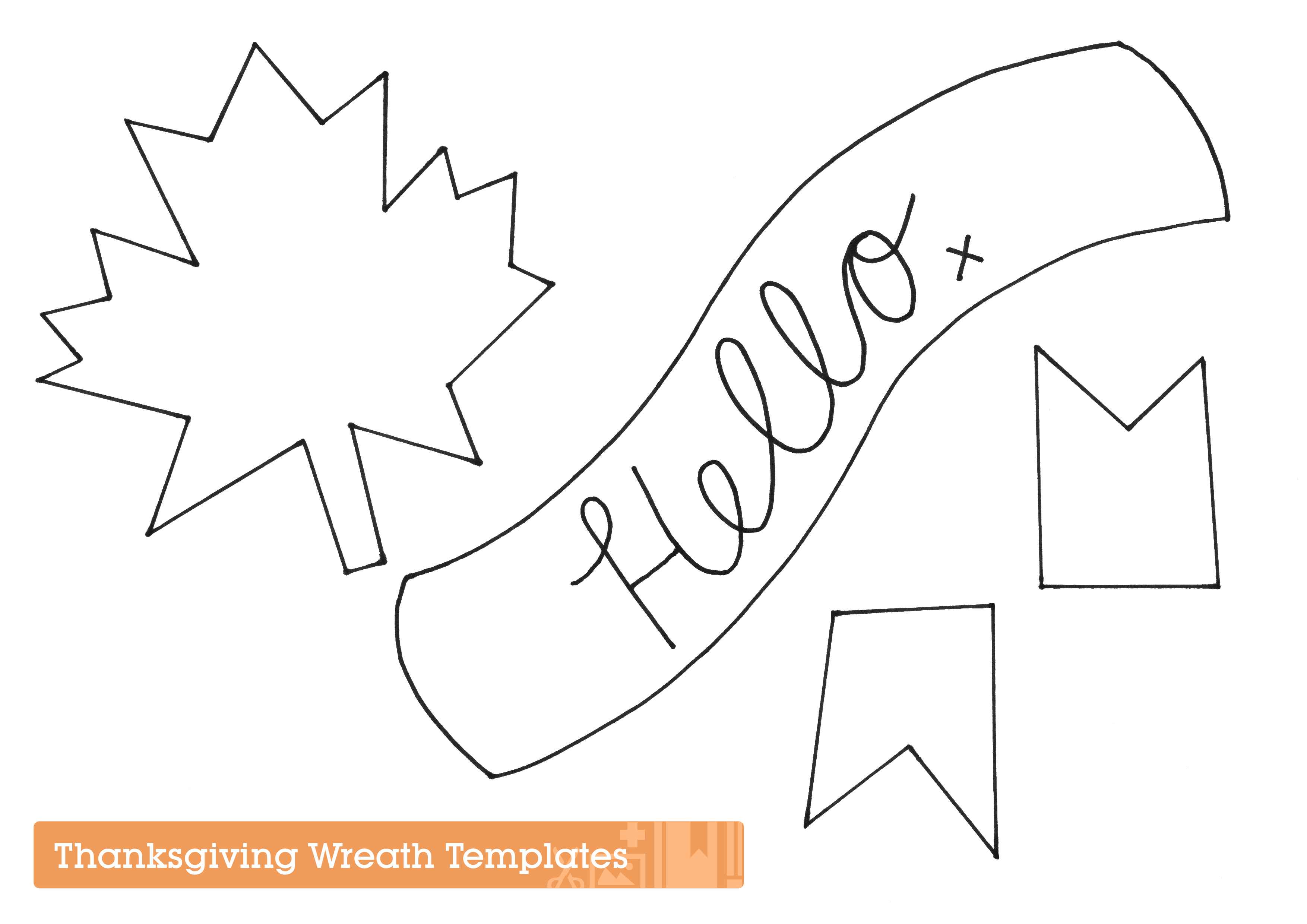 Shape templates for festive Thanksgiving wreath