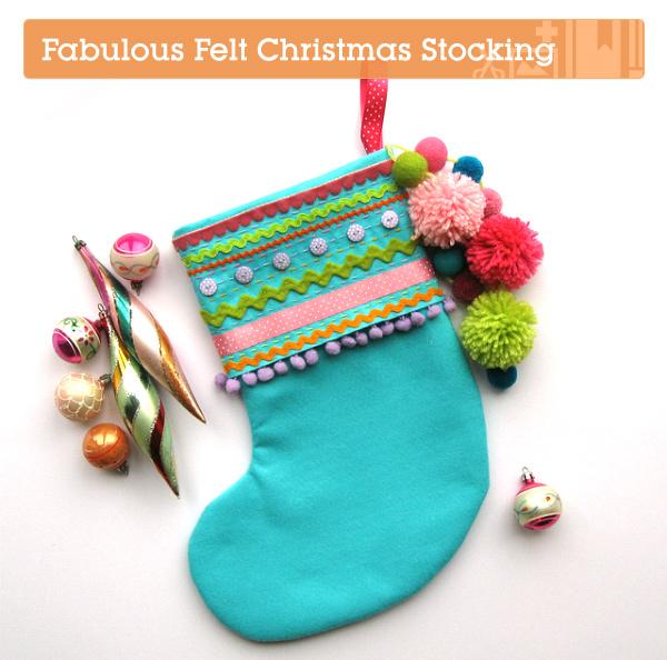 bright blue stocking with ricrac, ribbon and pompom trim