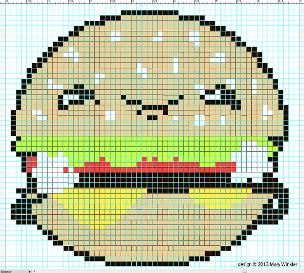 Kawaii Burger Cross Stitch Chart
