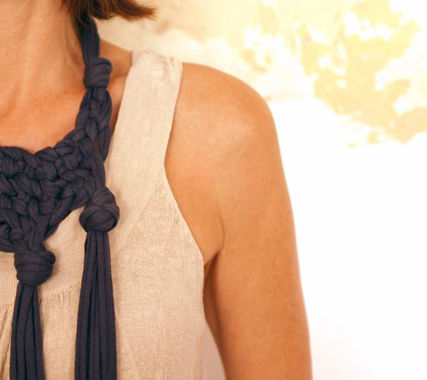 the red thread knotted neckpiece denim
