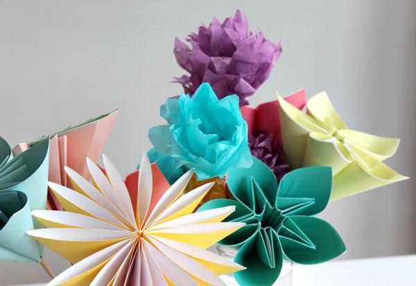 Как сделать из бумаги букет для цветов