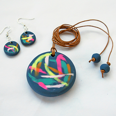 Preview for Make a Painterly Pendant and a Pair of Earrings with Polymer Clay