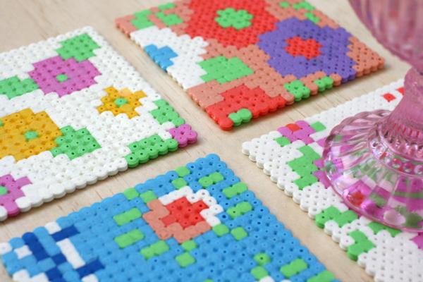Vintage floral Hama bead coasters tutorial