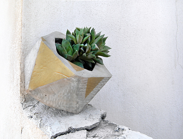 How to make a geo faceted cement planter for Craft cement mix