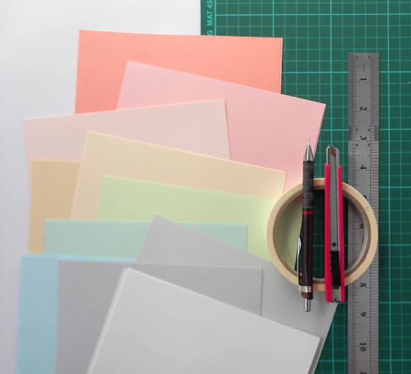 Supplies for Geo Paper Patchwork Artwork