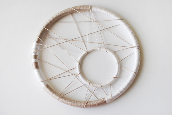 Make a modern dreamcatcher tuts crafts diy tutorial for How to make a double ring dreamcatcher