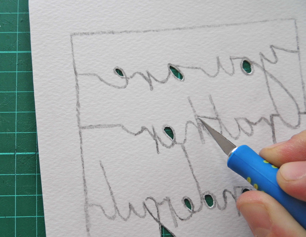 papercutting tricky letters cutting into a corner