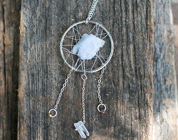 Make a statement dreamcatcher necklace with stones and for How to make a double ring dreamcatcher