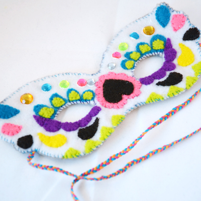 Preview for How to Make a Vibrant Sugar Skull Felt Mask for Halloween
