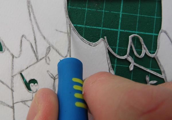papercut name design cut away from corners