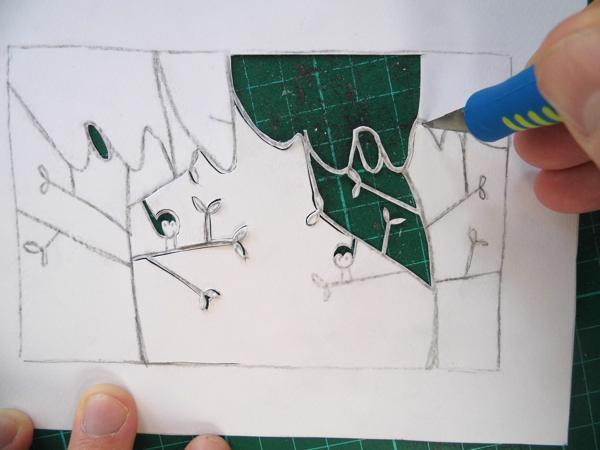 papercut name design cutting tight curves