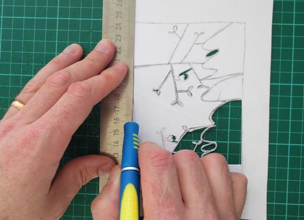 papercut name design using a ruler
