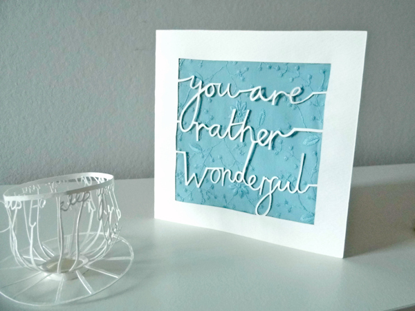 papercutting tricky letters finished card