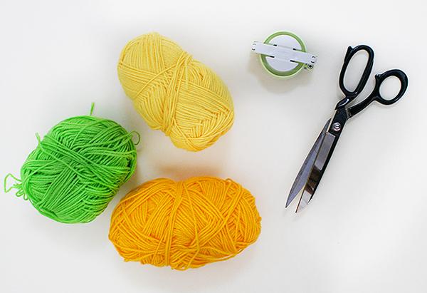 Materials for Tutti Frutti pom pom pineapple by Kitiya Palaskas on Crafttuts+