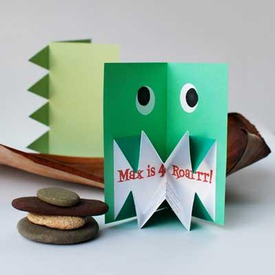 Origami dinosaur invite 4001