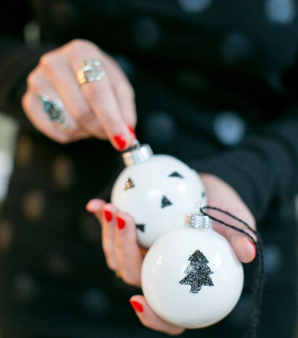 white glitter ornaments