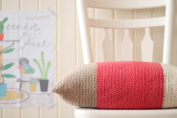 Crochet colour block cushion tutorial