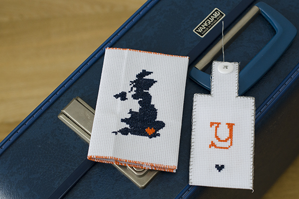 Cross Stitch Personalised Passport Cover and Luggage Tag
