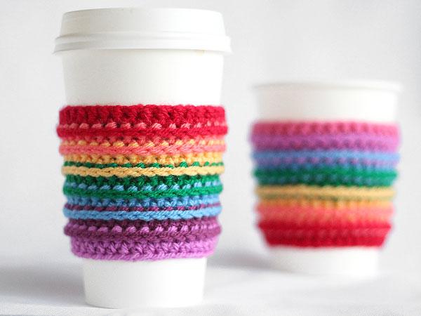 Crochet Rainbow Cup Cozy Tutorial