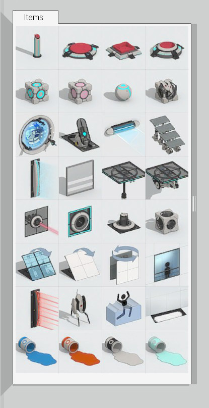 The tool box from the in-game editor, with all the available puzzle elements.