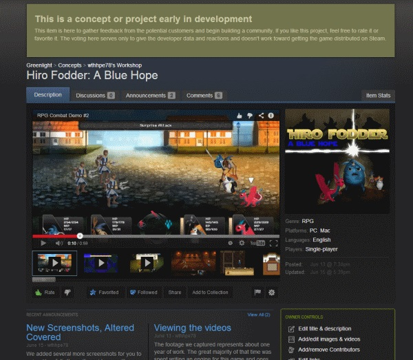 Steam Greenlight Concepts page for Hiro Fodder A Blue Hope