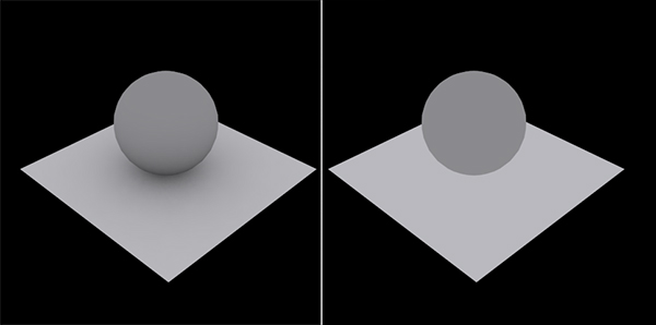 Left: Ambient Occlusion. Right: No Ambient Occlusion.