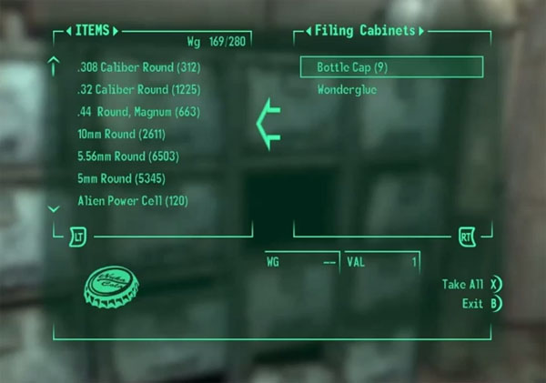 Fallout 3: Apparently our hero has no problem carrying over 10,000 bullets.